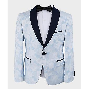 Boys Sky Blue Tailored fit Floral Patterned Tuxedo Suit