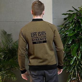 Unisex Bomber Jacket | Het leven is 10% wat er gebeurt met mij en 90% hoe ik reageer op het