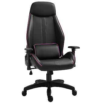 Vinsetto Purple Piped Gaming Chair Ergonomic Adjustable Height Recliner w/ Wheels Back Pillow Padding Metal Frame Stylish Comfortable Purple