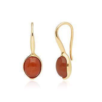 غير منتظمة B جوهرة مُسدّج أحمر اليشم قطرة الأقراط في الذهب مطلي الاسترليني الفضة 270E027001925