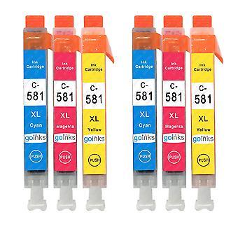 2 C/M/Y Set von 3 Tintenpatronen, um Canon CLI-581 Compatible/Non-OEM von Go Inks (6 Tinten) zu ersetzen