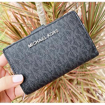 Michael kors jet set bifold wallet zip coin case id black mk