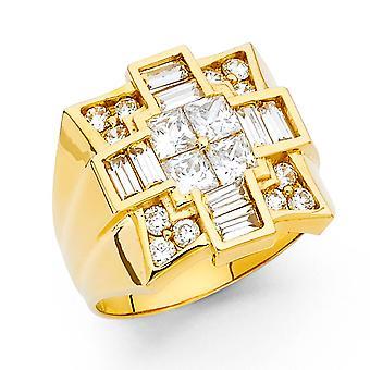 14k Gul guld CZ Cubic Zirconia Simuleret Diamond Herre Ring Størrelse 10 smykker Gaver til mænd