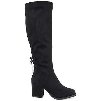 Brinley Co. Naisten polven korkea korko kengät musta, 7,5 Extra leveä vasikka US