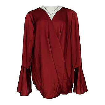 Masseys Women's Plus Top Wrap Style Blouse Burgundy Red
