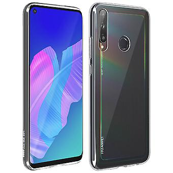 Huawei P40 Lite E Soft Silicone Cover and 9H Tempered Glass Film clear