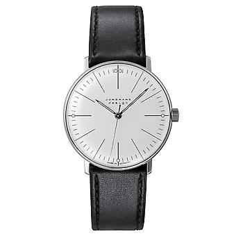 Junghans Max Bill Manual Wind 027/3700.04 Silver Dial Black Leather Strap Men's Watch