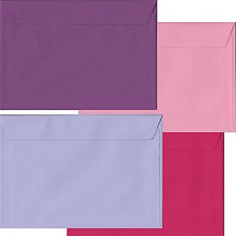 Pink lilla Pack 100 C5 Self Seal konvolutter-fire Pink/lilla farver