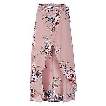 Floral printed irregular split hem women skirts
