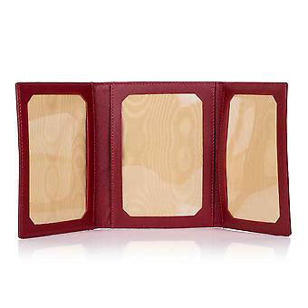 Fox Red Oxford Leather Triple Picture Frame