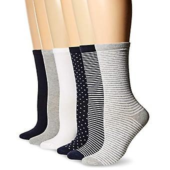 Essentials Women's 6-Pack Casual Crew Sock, Navy Assorted, 6 tot 9