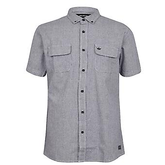 Firetrap Mens Dogtooth Shirt Button Down Kragen klassische Kurzarm-Top