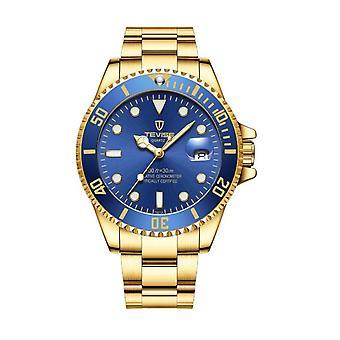 Tevise Mens Homage Quartz Watch Blue Gold Smart Watches Date Designer Gift