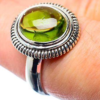 Peridot Ring Size 7 (925 Sterling Silver)  - Handmade Boho Vintage Jewelry RING26841