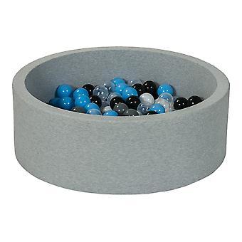 Ball pit 90 cm z 200 kulkami czarny, biały, przezroczysty, szary, jasnoniebieski