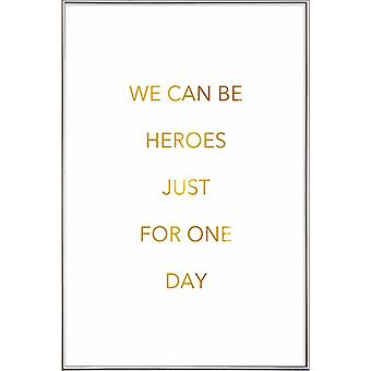 JUNIQE Print - Gold We Can Be Heroes - David Bowie Poster in Goud en Wit