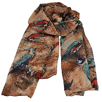 Ties Planet Parrots Animal Print Ivory & Brown Lightweight Women's Shawl Sjaal