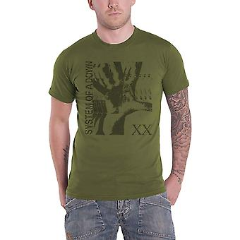 System Of A Down T Shirt Intoxicated Band Logo new Official Mens Military Green