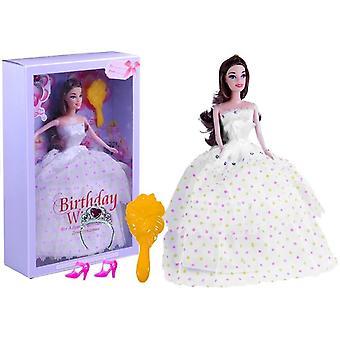 Ziua de nastere Doll Îmbrăcăminte Pantofi Tiara Hairbrush Alb