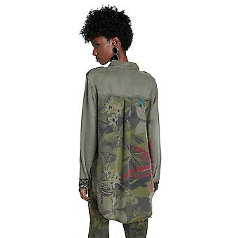 Desigual كاكي كامو فلاور طويل قميص منمق الفاخرة 20WWCN01
