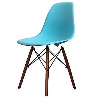 Charles Eames Style Bright Blue Plastic Retro Side Chair Walnut Legs