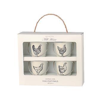Eddingtons Egg Cup Pails Vintage Kana Valkoinen x 4 83033