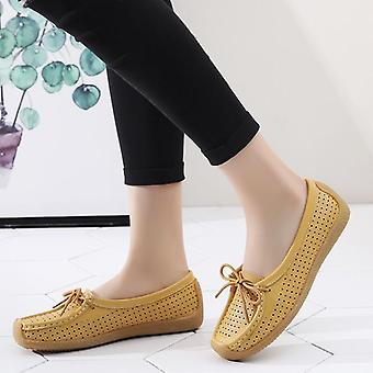 Genuine Leather Flat Loafer Slip Up Sewing Ladies Shoes