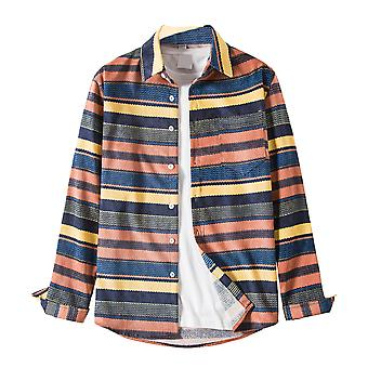 Yunyun Men's Striped Button Slim Color Block Cardigan Shirt