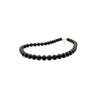 Halskette Perlen 10mm schwarz glänzend 45cm