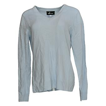 Soft By NAADAM Women's Sweater Cashmere V Neck Pullover Sweater Blue A370915