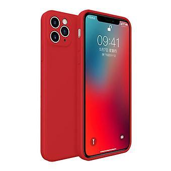 MaxGear iPhone 11 Pro Max Square Silicone Case - Soft Matte Case Liquid Cover Red
