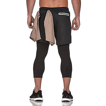 Men 2in1 Skinny Fitness Legging Elastic Long Pants