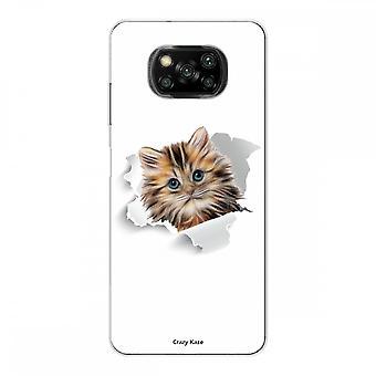 Casco para Xiaomi Poco x3 Nfc en silicona suave 1 mm, gatito jugando con mariposa