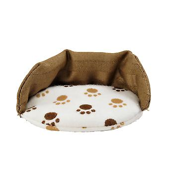 Dolls House Brown Paw Print Dog Bed Miniature 1:12 Scale Pet Accessory