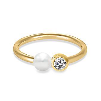 Ring Daisy 0.10 carat Diamond, 18K Gold Band and Pearl