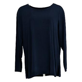 Susan Graver Women's Top Petite Mod Essentials Liquid Knit Blue A384231