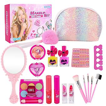 Kids makeup set for girls - 19pcs real washable cosmetics kit children play make up with glitter cos