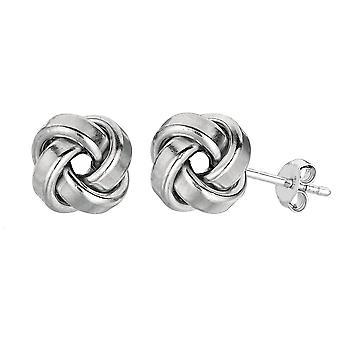 Sterling zilveren Rhodium afwerking 9mm glanzend liefde knoop Stud Earrings Stud Earrings