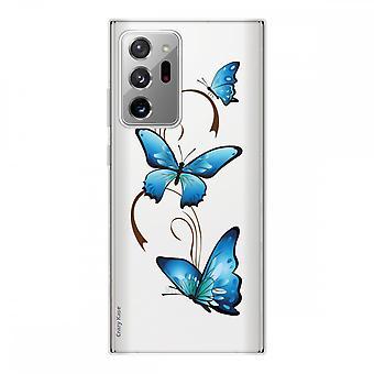 Casco para Samsung Galaxy Note20 Ultra en silicona flexible 1 mm, mariposa en arabesco