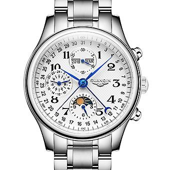Automatic Sapphire Mechanical Men Watch Waterproof Calendar Leather Wristwatch