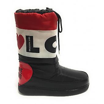 Damen Skiboot Love Moschino Snow Boot Nylon Schwarz / Weiß / Rot D20mo22 Schuhe