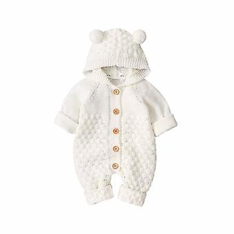 Children's Fur Ball Hooded Knitted One-piece Romper