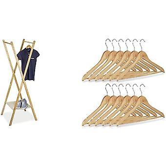 Relaxdays Kleiderstnder aus Bambus HBT: 155,5 x 50 x 57,5 cm Garderobenstnder, natur &