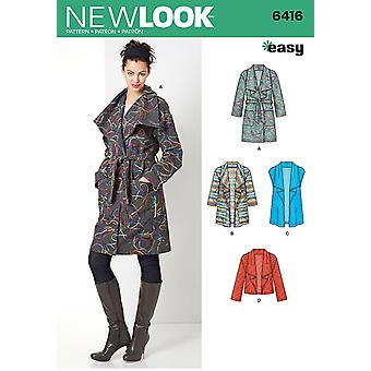 New Look Sewing Pattern 6416 Misses Coat & Jacket Size XS-XL