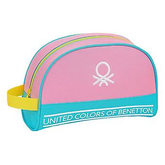 Koulun wc-laukku Benetton Värilohko Keltainen Vaaleanpunainen Turkoosi
