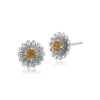 Gemondo 925 Sterling zilveren oorbellen Citrien Bloemen Stud 0,18 ct
