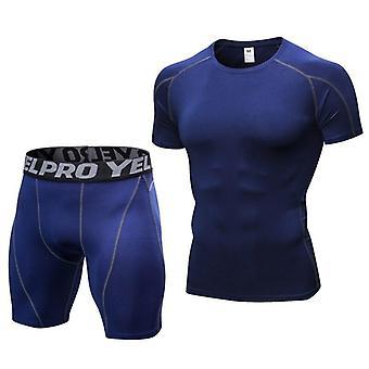 Uusi Men's Running Sport Set Summer Compression Gym sukkahousut asettaa miesten kehon vatsa