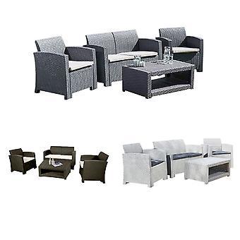 4 plazas rattan efecto sofá muebles de jardín al aire libre Salón set mesa de centro