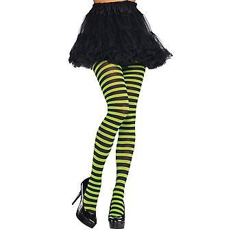 Volwassen groene en zwarte gestreepte panty's