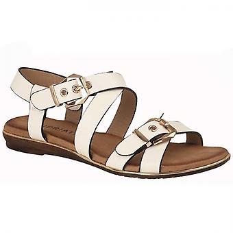 Cipriata Deana Ladies Double Buckle Sandals White